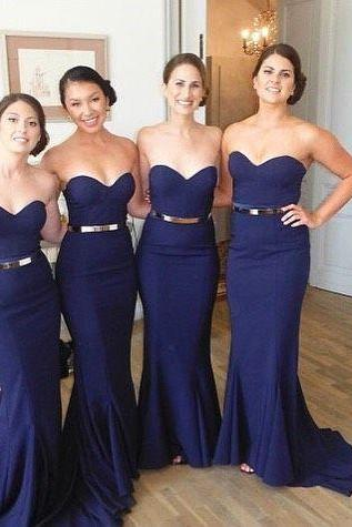 Mermaid Navy Blue Bridesmaid Dress, Long Satin Cheap Bridesmaid Dress, Bridesmaid Dresses 2016, Custom Elegant Bridesmaid Dress, Wedding Party Dresses 2015