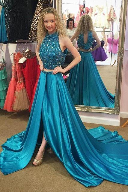 Teal Green Two Piece Prom Dresses, Beaded Sexy Sparkly Prom Dresses, Satin Long Backless Prom Dresses, Side Slit Cheap Prom Dresses, 2016 Prom Dresses For Women