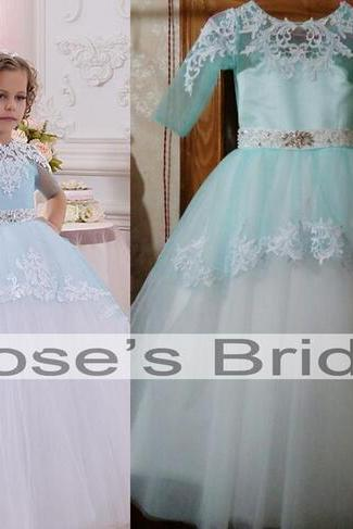Ice Blue Lace Applique Flower Girl Dresses, Puffy Tulle Flower Girl Dresses, Beaded Belt Toddle Little Girl Dresses, Cheap Kids Dresses, Pageant Girl Dresses, Wedding Flower Girl Dresses