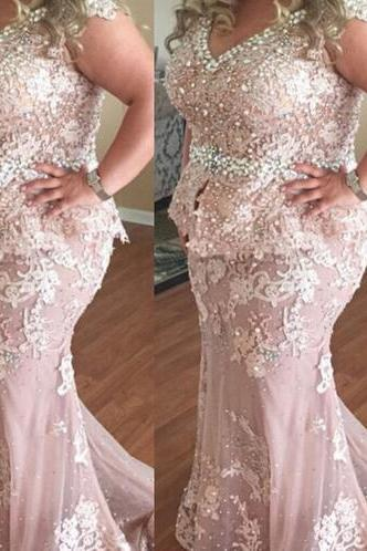 Plus Size Evening Dress, Peals Mermaid Evening Dress, Dusty Pink Long Evening Dress, Lace Applique Elegant Evening Dress, Elegant Maternity Evening Gown, Pregnant Formal Dresses For Women