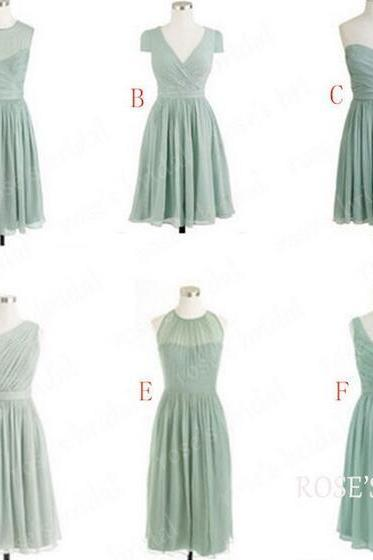 Chiffon Mismatched Cheap Bridesmaid Dresses, Short Junior Bridesmaid Dresses, Sage Green Bridesmaid Dresses, Wedding Party Dresses 2016, Cute Custom Bridesmaid Dresses