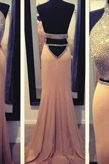 High Neck Beaded Evening Dress, Dusty Pink Mermaid Evening Dress, Sexy Cheap Backless Evening Dress, Floor Length Evening Dress Formal Dress