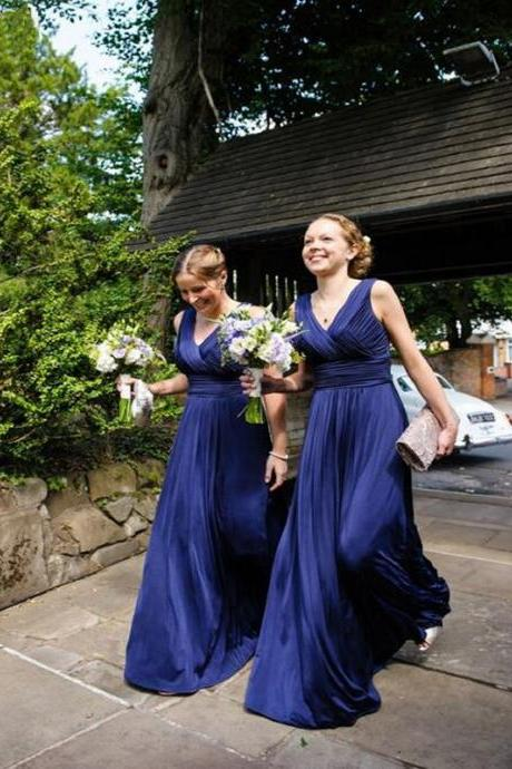 V Neck Elegant Bridesmaid Dress, Navy Blue Chiffon Bridesmaid Dress, Floor Length Cheap Bridesmaid Dress, 2016 Bridesmaid Dresses Women