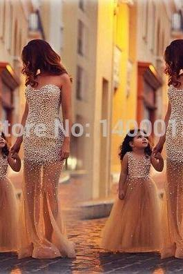 Mother Daughter Matching Dresses, Peals Evening Dress, Long Evening Dress, Sheer Tulle Evening Dress, Champagne Evening Dress, Two Dresses Long