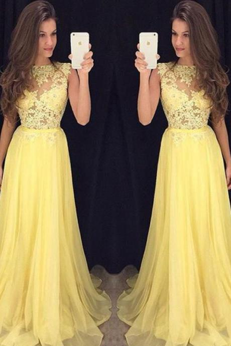 Cap Sleeve Yellow Lace Applique Prom Dress, Tulle Elegant Long Prom Dresses, Formal Party Dresses 2016, Cheap Custom Pretty Prom Dress