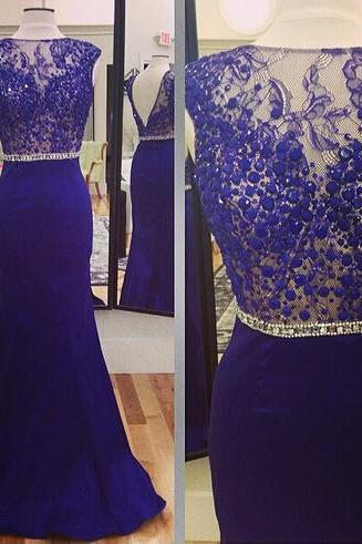 Cap Sleeve Mermaid Navy Blue Evening Dress Long Satin Cheap Evening Dresses 2016 Lace Beaded Formal Dresses 2017