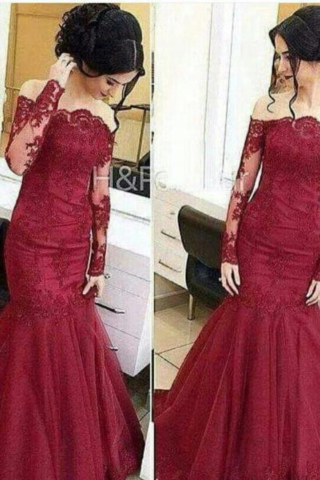 Wine Red Colored Lace Evening Dress, Mermaid Elegant Formal Dress, Long Sleeve Cheap Formal Dress, Long Cheap Custom Evening Dress, 2016 New Arrival Formal Dresses