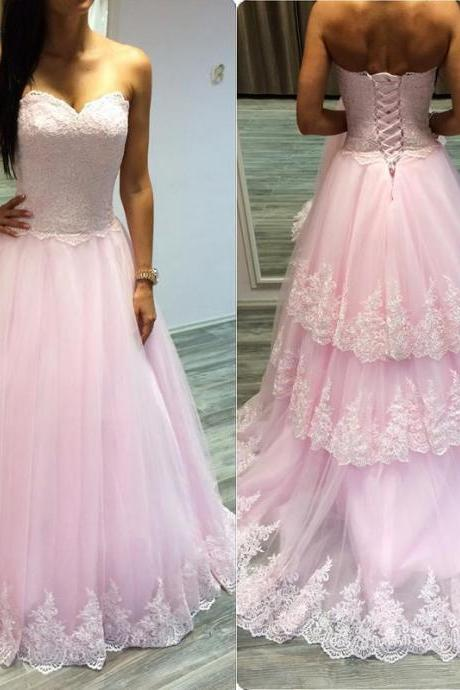 Three Layers Lace Pink Prom Dress, A Line Elegant Prom Dress, Applique Court Train Prom Dress, 2016 New Arrival Formal Dress, Prom Gowns 2017