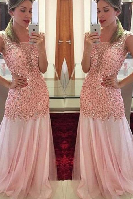 Peals Evening Dress, Rhinestones Evening Dress, Mermaid Evening Dress, Pink Evening Dress, Sparkly Evening Dress, Luxury Evening Dress, 2016 Formal Dresses