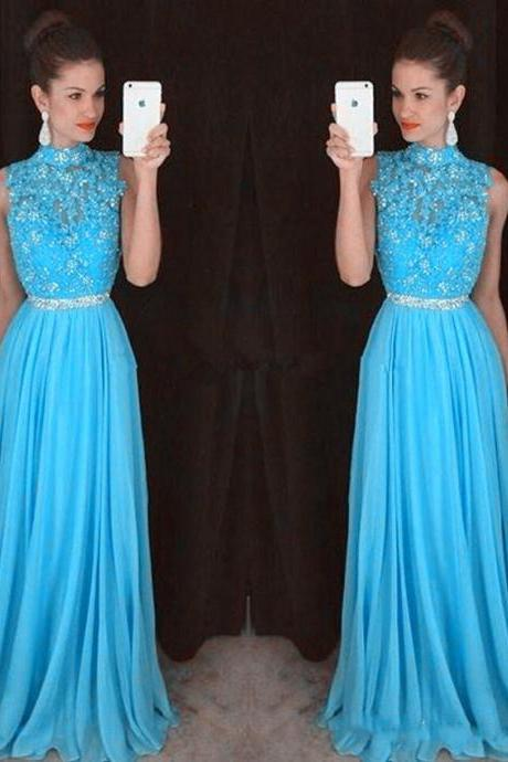 High Neck Prom Dress, Lace Prom Dress, Blue Prom Dress, Rhinestones Prom Dress, Chiffon Prom Dress, Elegant Prom Dress, A Line Prom Dresses Long
