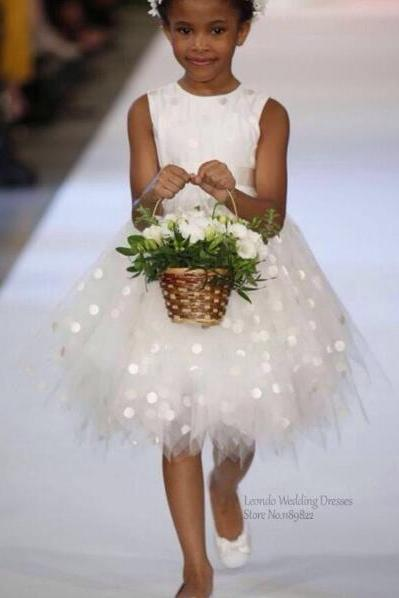 Tiered Flower Girl Dress, Ivory Flower Girl Dresses, Cheap Flower Girl Dress, Short Flower Girl Dress, Tulle Flower Girl Dress, First Communion Dresses 2016