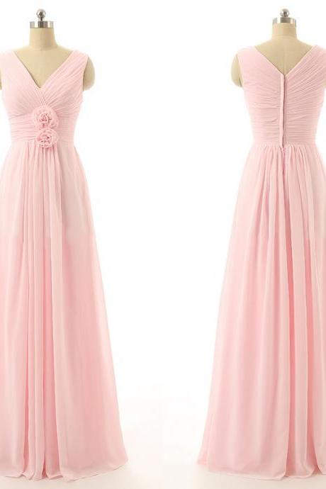V Neck Bridesmaid Dress, Long Bridesmaid Dress, Cheap Bridesmaid Dress, Pink Bridesmaid Dress, Wedding Party Dress, Bridesmaid Dresses 2017, Chiffon Bridesmaid Dress, Women Bridesmaid Dress