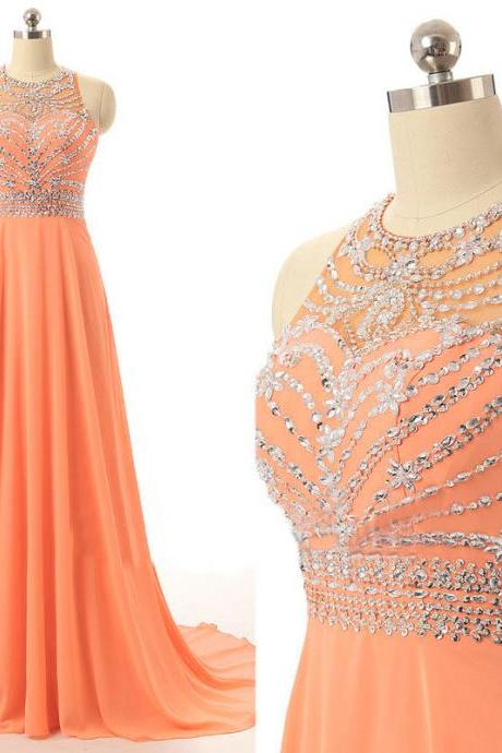 Sexy Prom Dresses, Rhinestones Prom Dress, Crystals Prom Dress, A Line Prom Dress, Backless Prom Dress, Orange Prom Dress, Long Prom Dress, Charming Prom Dress, Prom Dresses 2017