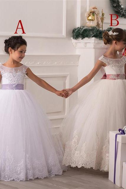 White Flower Girl Dresses, Lace Flower Girl Dresses, Tulle Flower Girl Dresses, Beaded Flower Girl Dresses, 2016 First Communion Dresses, Kids Prom Gowns