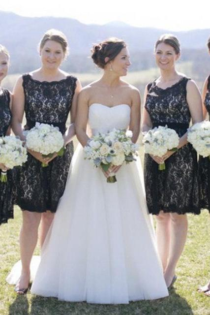 Black Bridesmaid Dresses, Lace Bridesmaid Dresses, Vintage Bridesmaid Dresses, Short Bridesmaid Dresses, Cheap Bridesmaid Dresses, Bridesmaid Dresses 2017, Wedding Party Dresses