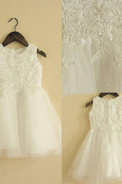 Cute Flower Girl Dresses, Ivory Flower Girl Dresses, Cheap Flower Girl Dress, Short Flower Girl Dresses, 2016 Holy Dresses, First Communion Dresses 2017