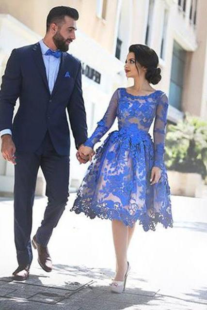 Short Prom Dresses, Lace Prom Dresses, Long Sleeve Prom Dresses, Puffy Prom Dresses, Elegant Prom Dresses, Royal Blue Prom Dresses, Prom Dresses 2017