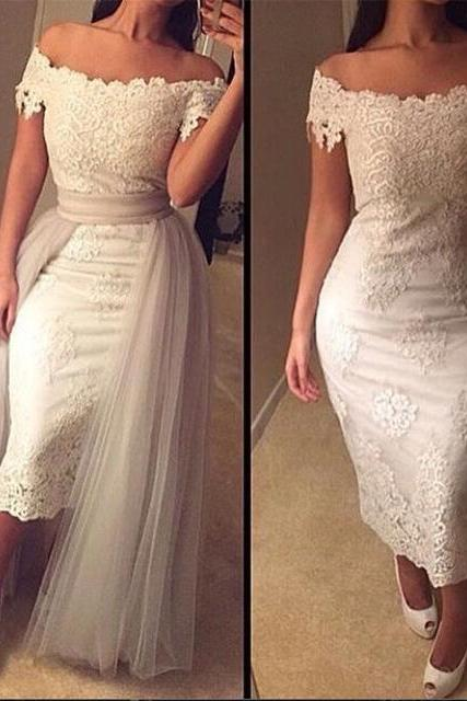 Detachable Prom Dress, Short Prom Dress, Lace Prom Dress, Cap Sleeve Prom Dress, Elegant Prom Dress, Arabic Prom Dress, Mermaid Prom Dress