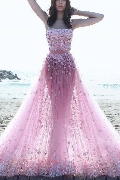 Two Piece Prom Dresses, 3D Flowers Evening Dress, Strapless Evening Dress, Floral Dresses Long, Pink Evening Dress, Cheap Evening Dress, A Line Evening Dress, Affordable Formal Dresses, 2017 Evening Dresses Formal