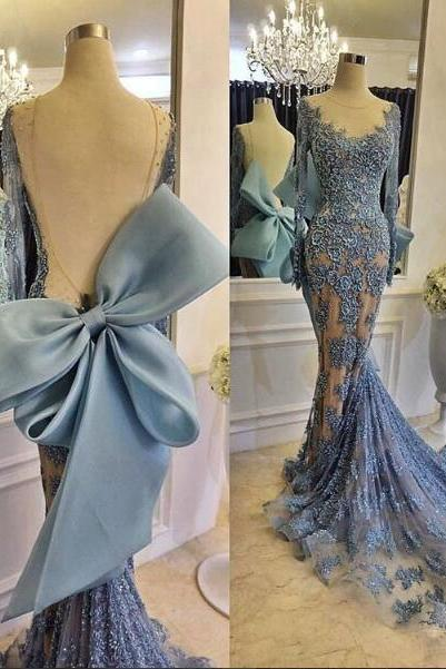 Lace Evening Dress, Mermaid Evening Dress, Blue Evening Dress, Backless Evening Dress, Sexy Evening Dress, Cheap Evening Dress, Long Evening Dress, Formal Party Dresses
