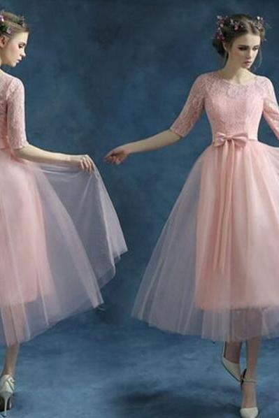 Ankle Length Prom Dress, Pink Prom Dress, Lace Sleeves Prom Dress, Short Prom Dress, Elegant Prom Dress, Tulle Prom Dress, Cheap Graduation Dresses, Prom Dresses 2017