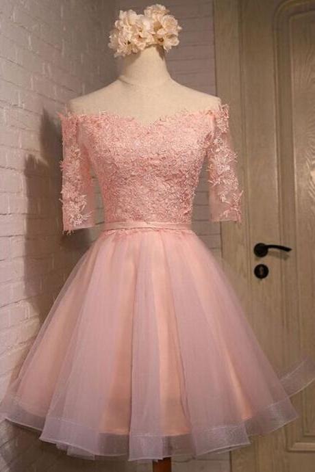 Pink Prom Dresses, Short Prom Dresses, Lace Prom Dresses, A Line Prom Dresses, 2017 Prom Dresses, Cheap Prom Dresses, Graduation Dresses 2016, Women Formal Dresses
