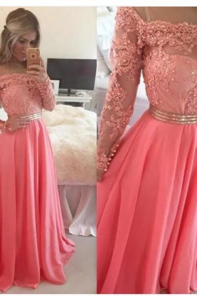 Coral Prom Dresses, Beaded Prom Dresses, Long Prom Dresses, Long Sleeve Prom Dresses, Elegant Prom Dresses, A Line Prom Dresses, Formal Party Dresses