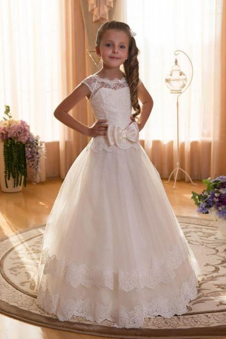 Pageant Girl Dresses, Lace Flower Girl Dress, Tulle Flower Girl Dress, A Line Flower Girl Dress, Ivory Flower Girl Dress, Toddler Little Girl Dresses, Cute Flower Girl Dress