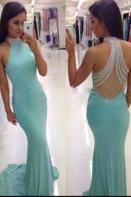 Light Blue Evening Dress, Mermaid Evening Dress, Beaded Evening Dress, Long Evening Dress, Sexy Evening Dress, Backless Evening Dress, 2017 Evening Dress