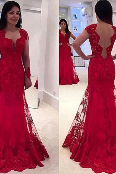 Red Prom Dress, Lace Prom Dress, Elegant Prom Dress, Applique Prom Dress, Prom Dresses 2017, Long Prom Dress, Cheap Prom Dress, Simple Prom Dress, Women Formal Dresses