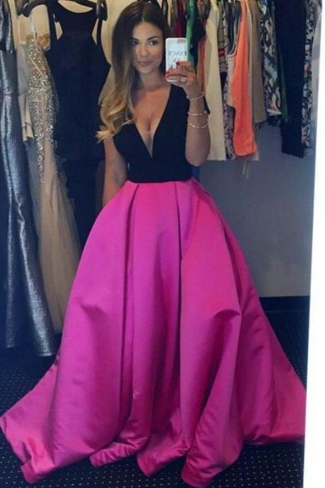 V Neck Prom Dress, Hot Pink Prom Dress, Off Shoulder Prom Dress, Floor Length Prom Dress, Elegant Prom Dress, Cheap Prom Dress, Prom Dresses 2017