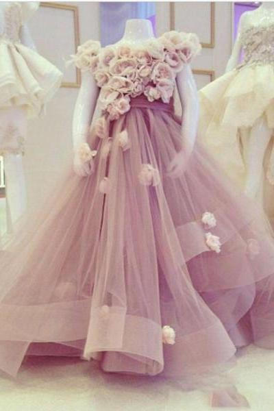 Purple Flower Girl Dresses, Handmade Flowers Flower Girl Dresses, Floor Length Flower Girl Dresses, Elegant Flower Girl Dresses, Cheap Flower Girl Dresses, Puffy Flower Girl Dress, Little Girl Prom Gowns, Pageant Little Girl Dresses
