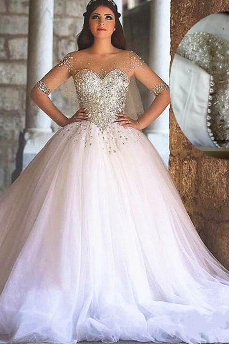 Rhinestone Wedding Dress, Crystals Wedding Dress, White Wedding Dress, Sheer Sleeves Wedding Dress, Princess Wedding Dress, Elegant Wedding Dress, 2017 Wedding Dress