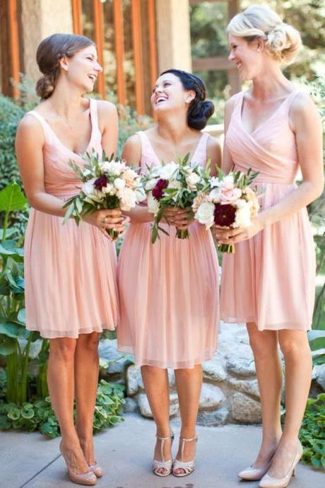 Short Bridesmaid Dress, Cheap Bridesmaid Dress, V Neck Bridesmaid Dress, Junior Bridesmaid Dress, Chiffon Bridesmaid Dress, A Line Bridesmaid Dress