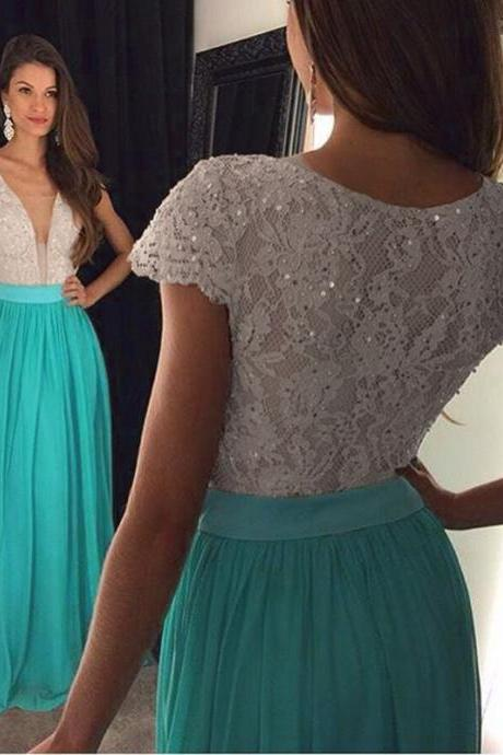 Short Sleeve Prom Dress, Lace Prom Dress, Turquoise Blue Prom Dress, A Line Prom Dress, V Neck Prom Dress, Cheap Formal Dresses, Sparkly Prom Dress, Long Prom Dress