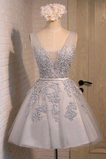 Short Prom Dresses, Lace Applique Prom Dresses, Blue Prom Dresses, Cheap Graduation Dresses, V Neck Prom Dresses, Prom Dresses 2017, A Line Prom Dresses, Cocktail Party Dresses