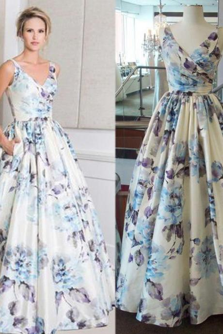 Printed Prom Dress, V Neck Prom Dress, Elegant Prom Dress, Pattern Prom Dress, Floor Length Prom Dress, A Line Prom Dress, Cheap Prom Dress