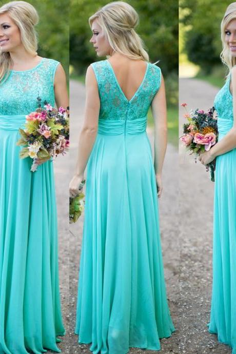 Turquoise Blue Bridesmaid Dress, Lace Bridesmaid Dress, Long Bridesmaid Dress, Chiffon Bridesmaid Dress, Elegant Bridesmaid Dress, Wedding Guest Dresses, Cheap Bridesmaid Dress