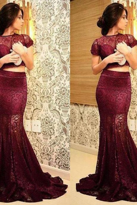 Burgundy Evening Dress, Wine Red Evening Dress, Two Piece Prom Dresses, Long Prom Dresses, Elegant Prom Dresses, Mermaid Prom Dress