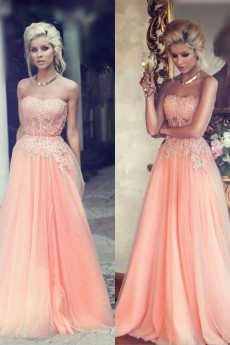 Peach Prom Dress, Lace Prom Dress, Tulle Prom Dress, Elegant Prom Dress, Simple Prom Dress, Vestido De Festa De Longo, Floor Length Prom Dress, Cheap Graduation Dresses