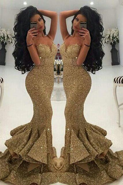 Mermaid Bridesmaid Dress, Sexy Bridesmaid Dress, Gold Sequin Bridesmaid Dress, Long Bridesmaid Dress, Sparkly Bridesmaid Dress, Cheap Bridesmaid Dress, Wedding Party Dresses