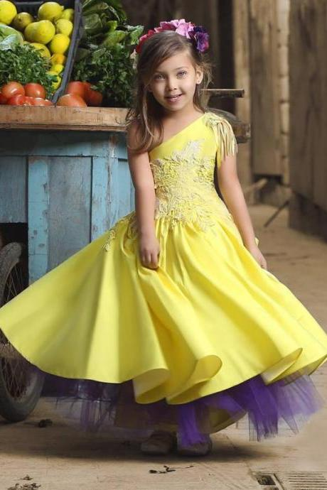Yellow Flower Girl Dresses, Lace Flower Girl Dress, Cheap Flower Girl Dress, Pageant Dresses For Little Girls, Glitz Little Girl Pageant Dresses