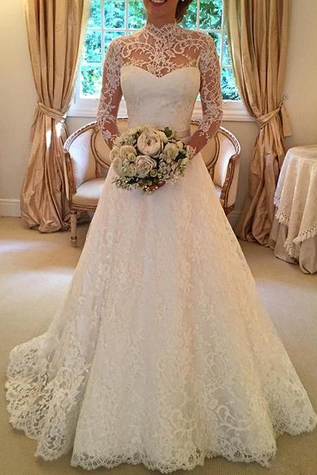 A Line Wedding Dress, Ivory Wedding Dress, Lace Wedding Dress, Long Sleeve Wedding Dress, Elegant Wedding Dress, High Neck Wedding Dress, Cheap Wedding Dress, Backless Wedding Dress