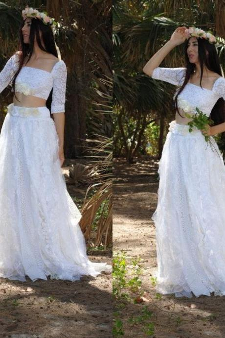 2 Piece Wedding Dresses, Lace Wedding Dress, Beach Wedding Dress, Western Wedding Dress, Half Sleeve Wedding Dress, White Wedding Dress, Greek Style Bridal Dress, Cheap Bridal Dresses