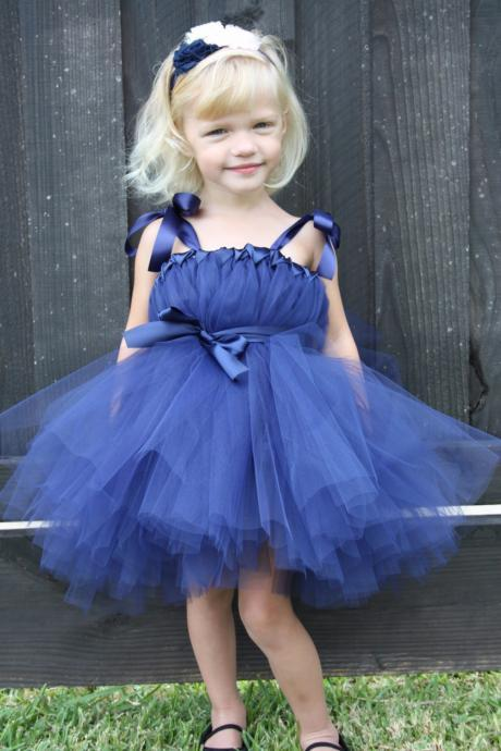 Navy Blue Flower Girl Dresses, Cute Flower Girl Dresses, Kids Prom Dress, Cheap Flower Girl Dress, First Communion Dresses, 2017 Flower Girl Dresses