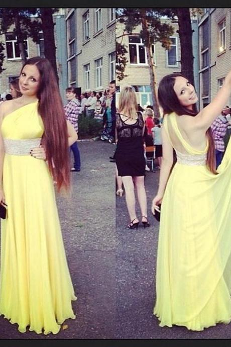 One Shoulder Prom Dress, Yellow Prom Dress, Backless Prom Dress, Sexy Prom Dress, Chiffon Prom Dress, Long Prom Dress, Sparkly Prom Dress, 2017 New Arrival Formal Dresses