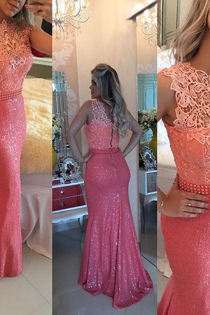 Coral Evening Dress, Lace Evening Dress, Mermaid Evening Dress, Peals Evening Dress, Cheap Formal Dresses, Long Evening Dress, Evening Dresses 2017