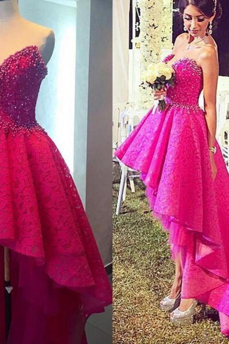 Hot Pink Prom Dress, High Low Prom Dress, Lace Prom Dress, Rhinestones Prom Dress, Sparkly Prom Dress, Prom Dresses 2017, Long Prom Dresses