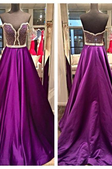 Purple Prom Dress, Elegant Prom Dress, Crystals Prom Dress, A Line Prom Dress, Beaded Prom Dress, Prom Gowns 2017, Floor Length Prom Dress, Cheap Prom Gowns