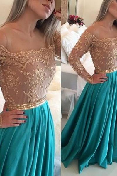 Green Prom Dress, Long Sleeve Prom Dress, Lace Prom Dress, Rhinestones Prom Dress, Off The Shoulder Prom Dress, Prom Dresses 2017, Chiffon Prom Dress